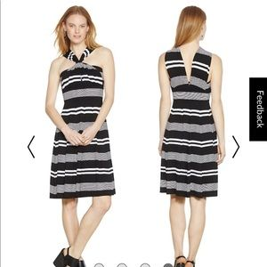 WHBM GENIUS CONVERTIBLE FIT  FLARE STRIPED dress